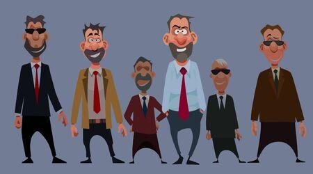 team of cartoon funny smiling men in suits with tie Archivio Fotografico - 139038771