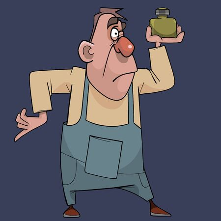 cartoon man weighing weight while holding it on one arm