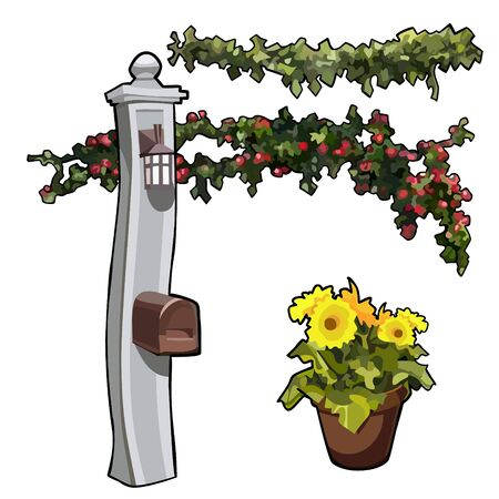 cartoon post with a mailbox with garlands of flowers and yellow flowers in a pot