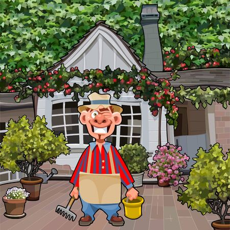 cartoon smiling male gardener standing in the yard of the house with flowering plants Ilustração