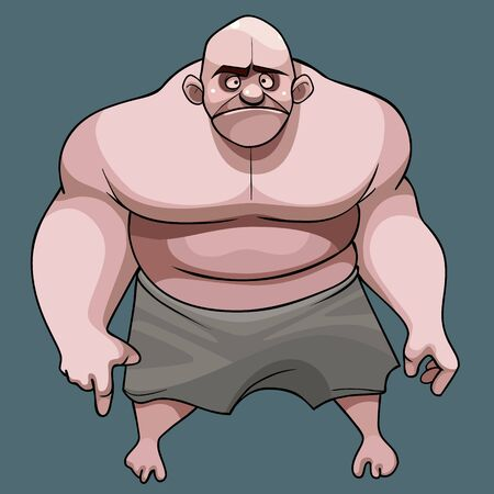 cartoon frustrated muscular big bald man with naked torso in shorts