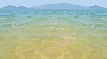 Drawn blue sea coast with mountain islands background