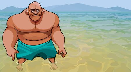cartoon frustrated muscular big bald man stands in the clear water of the blue sea 向量圖像