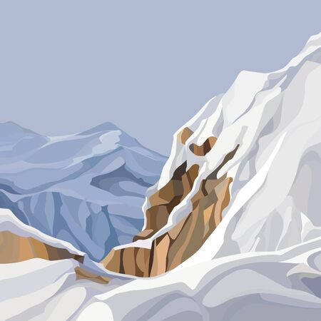 mountainous background from the top of snowy cliff