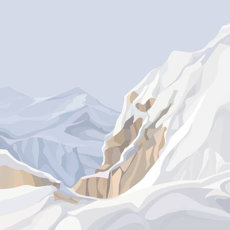 pale mountainous background from the top of snowy cliff