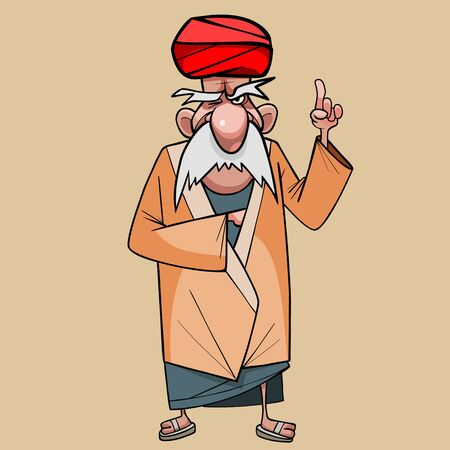 cartoon old man in a turban strictly threatens finger 向量圖像