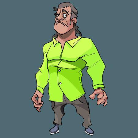 cartoon perplexed displeased man in bright green shirt