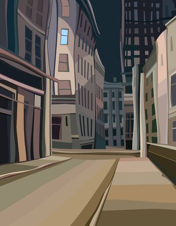 Empty city street night background with cartoon curved houses. Vector image Ilustrace