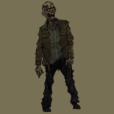 Cartoon scary zombie man standing in torn clothes Ilustración de vector