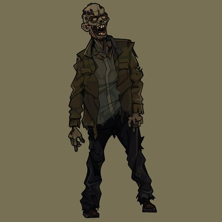 Cartoon scary zombie man standing in torn clothes