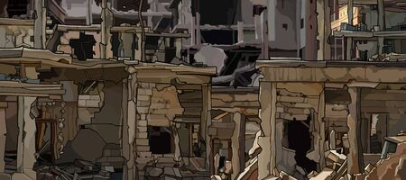 Background of the ruins of urban buildings close up. Vector image Vettoriali