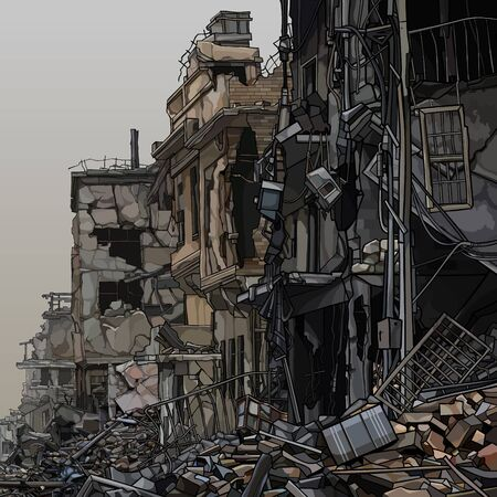 Ruins of destroyed city buildings with trash below. Vector image Vettoriali