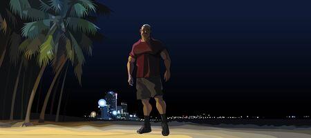 cartoon muscular man standing at night on city beach