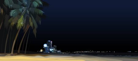 night background of empty city sandy beach with palm trees
