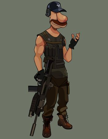 cartoon armed man with gun in his hand