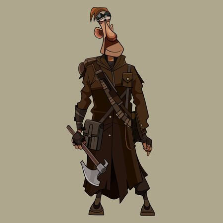 funny cartoon man in overcoat post apocalypse stands with an ax in hand