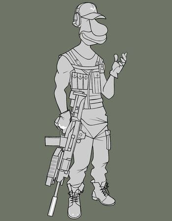 sketch of cartoon armed man with machine gun in his hand 矢量图像