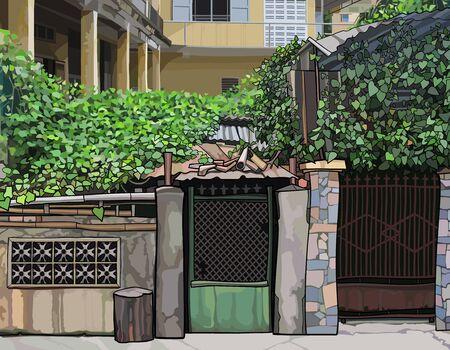 Painted overgrown fence with slum front door. Vector image 矢量图像