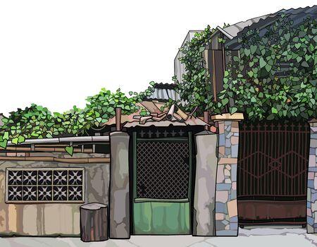 Overgrown ivy fence with front door and slum construction. Vector image Vector Illustratie