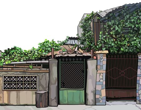 Overgrown ivy fence with front door and slum construction. Vector image 矢量图像