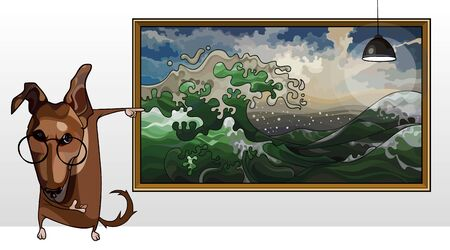 cartoon dog in glasses points a finger at picture of the seascape 矢量图像