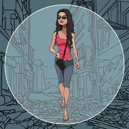 Cartoon woman walking on the ruins of the city. Placed in a circle