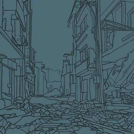 contour drawing of city street with dilapidated houses in ruins