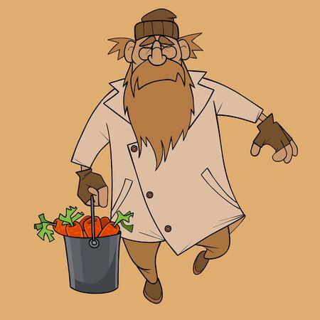cartoon bearded man steps with bucket of carrots