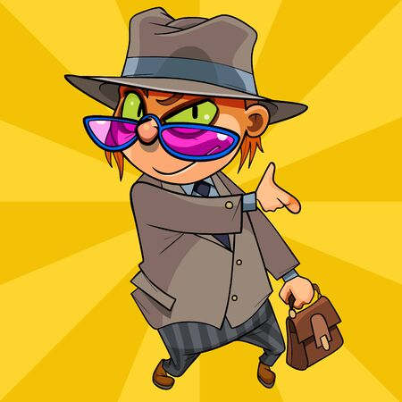 cartoon man with cat eyes in a suit and hat with a briefcase in hand