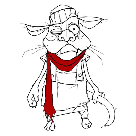 cartoon puzzled cat in clothes with red scarf 일러스트