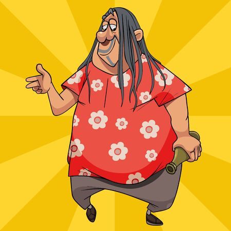 carefree cartoon fat man with long hair and bottle in his hand