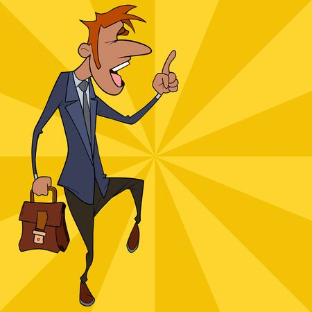 emotional cartoon man in suit with briefcase points index finger up