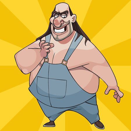 fat cartoon smiling man with long hair and in overalls 矢量图像