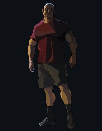 big cartoon smiling muscular man looks away while being in the dark Ilustrace