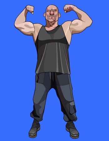 cartoon man with beard posing and strongly straining biceps Illustration