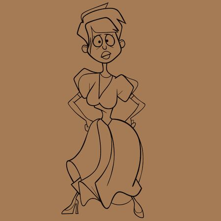 sketch of a funny cartoon woman in a dress with full long skirt