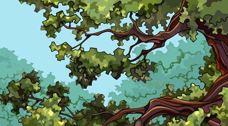 summer green cartoon background on tall tree branches