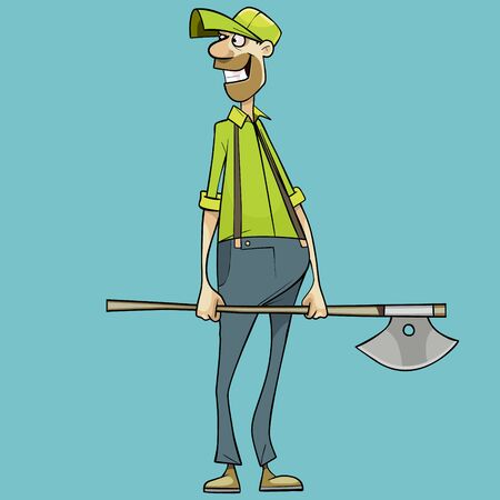 cartoon smiling man holding an ax in his hands looking back