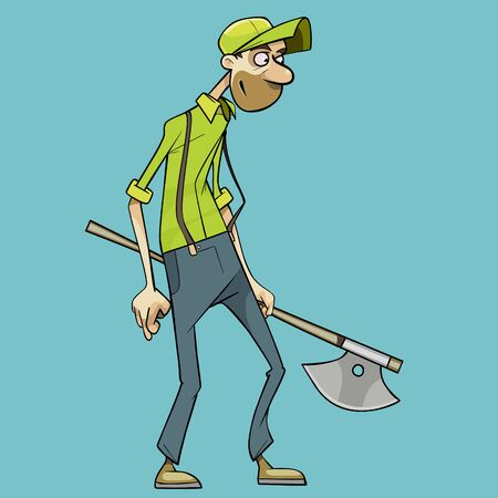 cartoon man with an ax in his hand looks thoughtfully in front of him