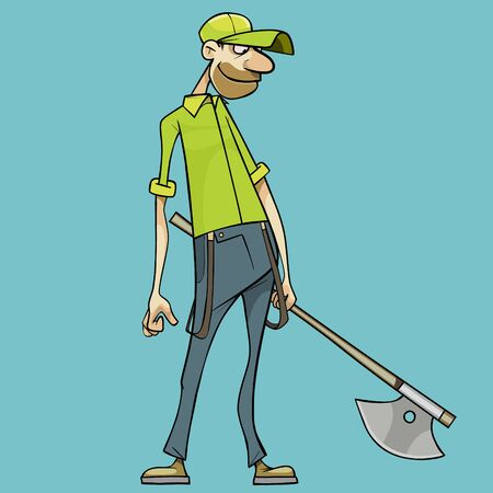 smiling cartoon man with ax in hand looks down