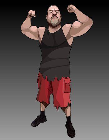 funny cartoon serious muscular man posing tensing biceps 矢量图像
