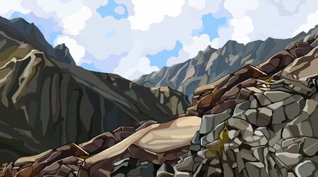 painted rocky slope at the top among the mountains. Vector image