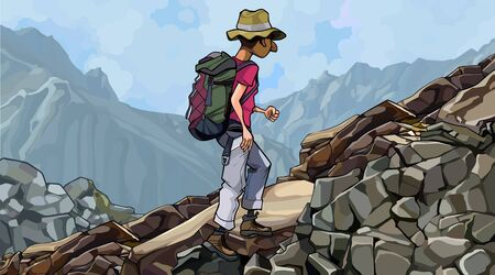 cartoon man tourist with backpack walks on a rocky slope