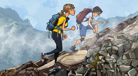 cartoon man with woman with backpacks climb rocky slope in the fog