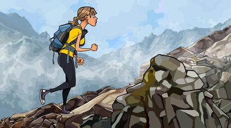 cartoon woman with a backpack climbs rocky slope in the fog 矢量图像