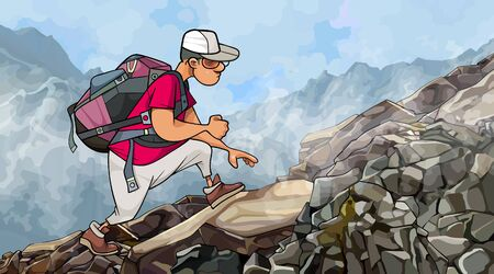cartoon man tourist with a backpack climbs rocky slope in the fog