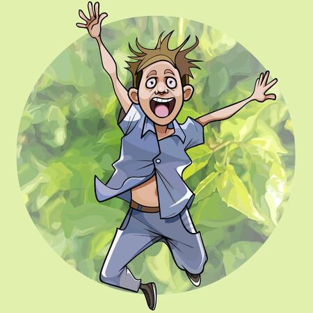 cartoon man jumping holding his hands up on background of greenery