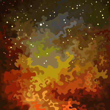Abstract background with painted fire with flying sparks. Vector image