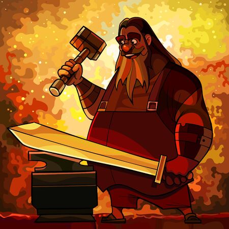 Cartoon bearded man blacksmith forges a sword in a fire forge. Vector image 矢量图像