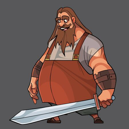 Cartoon bearded man standing with a sword in his hand. Vector image